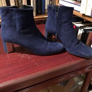 Blue suede Prada boots with mirror heel